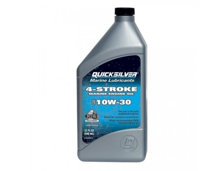 Четиритактово масло Quicksilver 10W-30 92-8M0086220, създадено, тествано и одобрено от Mercury