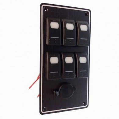 Електропанел с 6 ключа с гнездо за запалка - GS11183